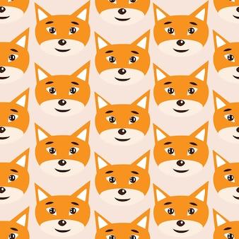 Wektor wzór z twarzami lisów ilustracja wektorowa na białym tle abstrakcyjny nadruk zwierzęcy