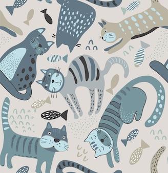 Wektor wzór z uroczymi kotami w prostym stylu płaski