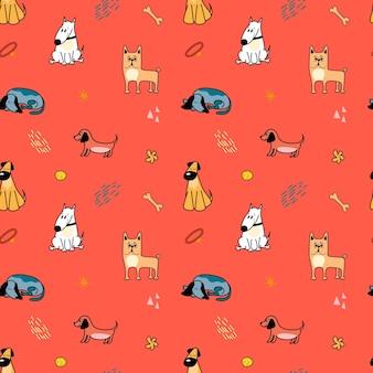 Wektor wzór z uroczymi różnymi rasami psów w stylu kreskówki na czerwonym tle