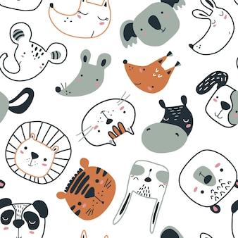 Wektor wzór z uroczymi twarzami zwierząt w prostym skandynawskim stylu