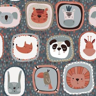 Wektor wzór z uroczymi twarzami zwierząt w ramkach