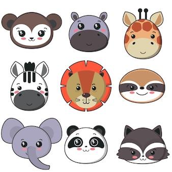 Wektor wzór z uroczymi twarzami zwierząt