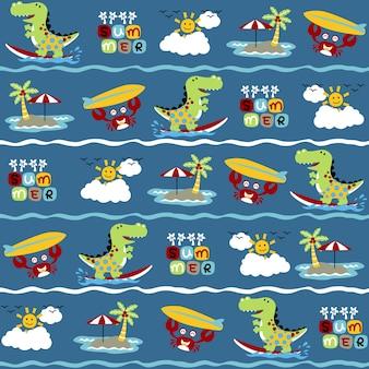 Wektor wzór z wakacji na plaży z śmieszne zwierzęta