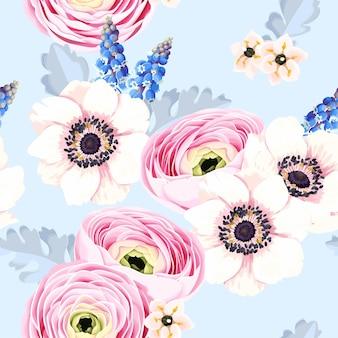 Wektor wzór z wiosennych kwiatów