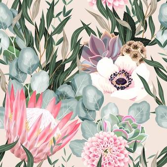 Wektor wzór z wysokiej szczegółowe kwiaty protea i liście na białym tle
