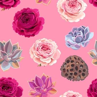 Wektor wzór z wysokiej szczegółowe sukulenty i róże na różowym tle