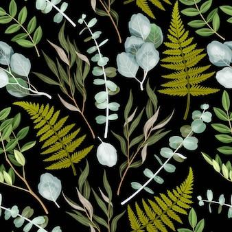Wektor wzór z wysokiej szczegółowej zieleni na czarnym tle