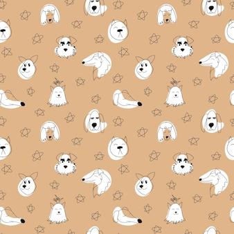 Wektor wzór z zarysem psy różnych ras doodle ilustracja kreskówka