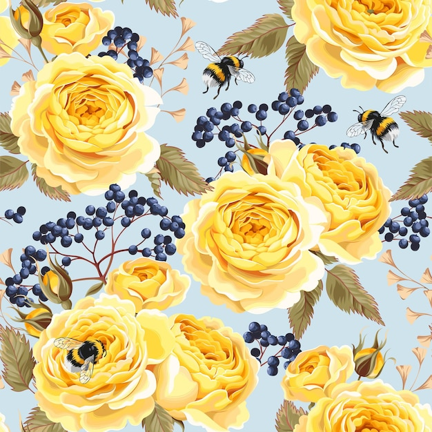 Wektor wzór z żółtymi różami i trzmiele