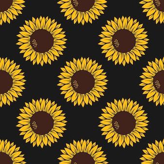 Wektor wzór z żółtymi słonecznikami na żółto z nadrukiem lamparta na białym tle.