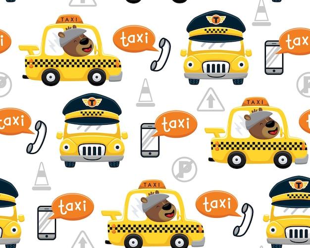 Wektor wzór zabawnej kreskówki niedźwiedzia jazdy żółtą taksówką ze sprzętem telekomunikacyjnym i znakami drogowymi