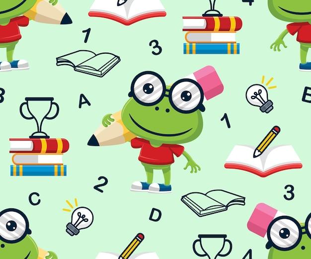 Wektor wzór zabawnej kreskówki żaby niosącej duży ołówek z przyborami szkolnymi