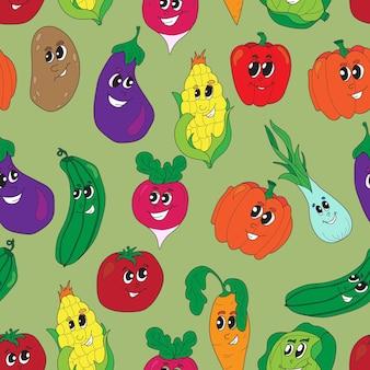 Wektor wzór zabawny warzywa. warzywa bezszwowe tło. zdrowa żywność