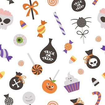 Wektor wzór ze słodyczami do gry cukierek albo psikus. tradycyjne halloween party jedzenie tło. papier cyfrowy z przerażającymi lizakami, karmelem, cukierkami.