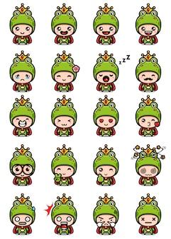 Wektor wzór zestawu maskotka ładny żaba