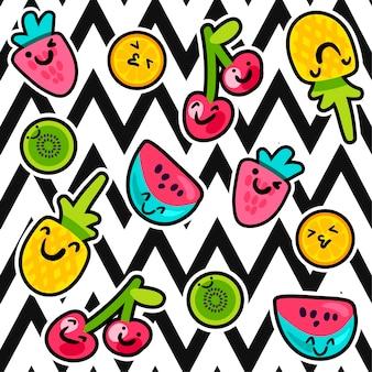 Wektor wzory letnich owoców w stylu cartoon. owoce i jagody. słodkie tło