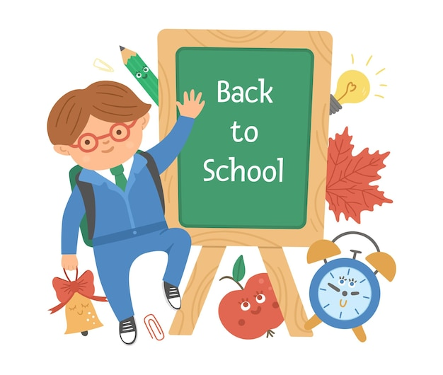 Wektor z powrotem do szkoły projekt edukacyjny z ładny uczeń, tablica, budzik, dzwonek, liść.