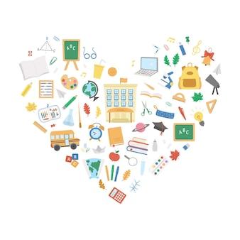 Wektor z powrotem do szkoły projekt oprawione w kształcie serca. zabawny projekt edukacyjny