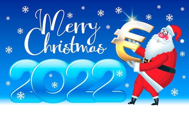Wektor zabawny kartkę z życzeniami wesołych świąt 2022 mikołaj trzyma złote euro