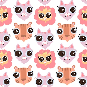 Wektor zabawny płaski kreskówka kot, liom i tygrys głowy wzór. płaskie tło kotów. twarze z dużymi oczami.