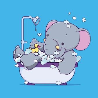 Wektor zabawny słoń kąpie się w łazience