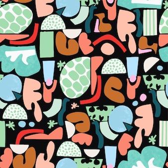 Wektor zabawy i kolorowe abstrakcyjne pędzle do malowania kształtów ilustracja bez szwu powtarzania wzoru