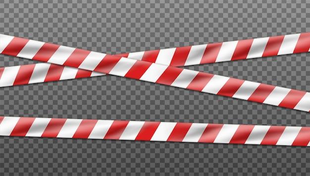 Wektor zagrożenia białe i czerwone paski wstążka, taśma ostrzegawcza znaków ostrzegawczych na miejscu zbrodni lub na placu budowy.