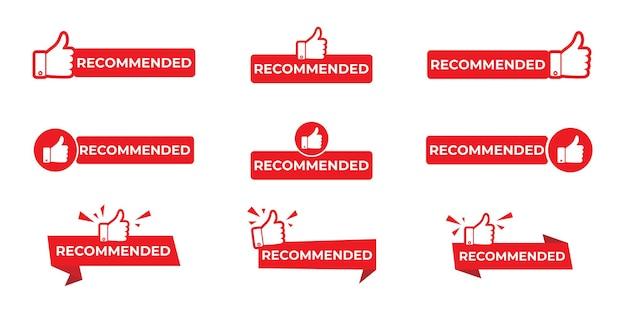 Wektor zalecane ikona z kciuki z zestawem znak.