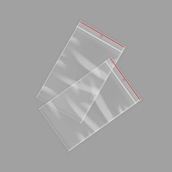 Wektor zamknięte puste przezroczyste plastikowe torby na suwak