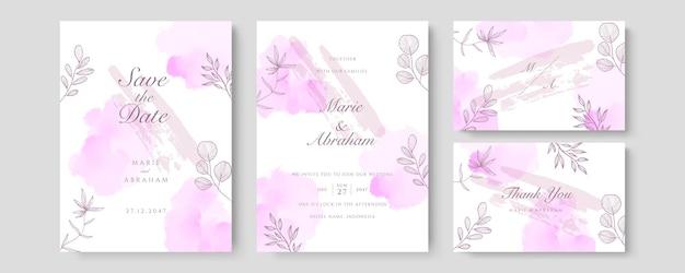 Wektor zaproszenia ślubne luksusowe. zaproś projekt okładki z fioletowym akwarelowym rumieńcem i teksturą złotej linii