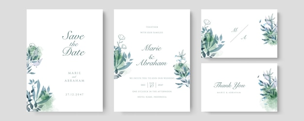 Wektor zaproszenia ślubne luksusowe. zaproś projekt okładki z zielonym akwarelowym rumieńcem i teksturą złotej linii