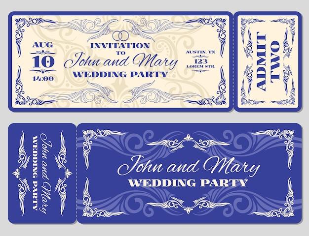 Wektor zaproszenie na ślub rocznika biletu