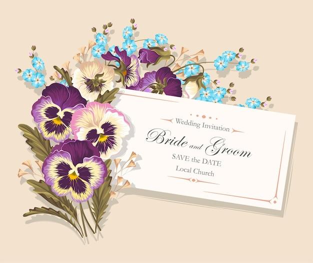 Wektor zaproszenie na ślub z bratkami i zapomnij o mnie kwiaty