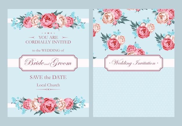 Wektor zaproszenie na ślub z kwiatami w stylu vintage