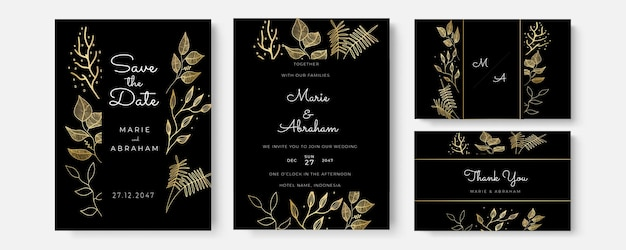 Wektor zaproszenie ze złotymi elementami kwiatowymi. luksusowy ozdoba szablon. kartkę z życzeniami, tło projektu zaproszenia