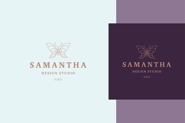 Wektor zarys etykiety motyla dla usług kosmetycznych i stylu linii produktów kosmetycznych