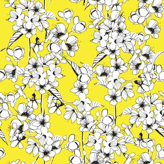 Wektor zarys kwiat wiśni