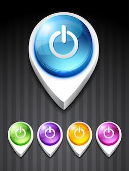 Wektor zasilania ikonę w stylu 3d