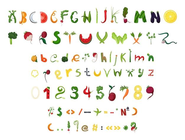 Wektor zbiór cyfr liter i znaków interpunkcyjnych w postaci owoców i warzyw
