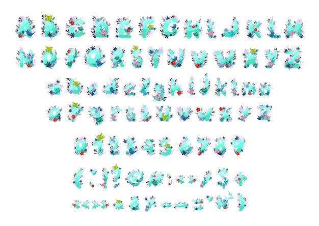 Wektor zbiór cyfr liter i znaków interpunkcyjnych z kwiatami i ptakami