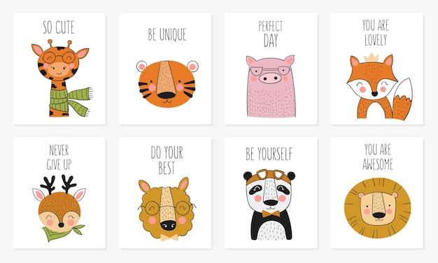 Wektor zbiór kart ładny ręcznie rysowane zwierzęta i slogan