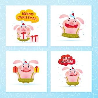 Wektor zbiór kart szczęśliwego nowego roku i wesołych świąt z zabawną śliczną świnią w zielone spodnie, santa hat z pudełkiem na białym tle. dobry na tagi prezentowe, projekt banera z gratulacjami