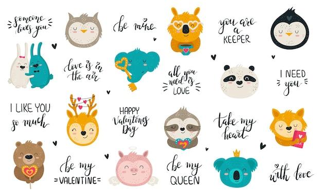 Wektor zbiór ręcznie rysowanych uroczych zwierzątek i uroczych sloganów zestaw ilustracji doodle v