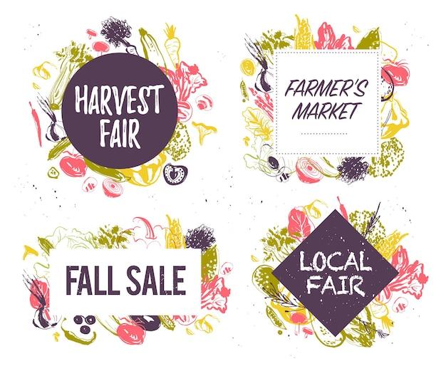 Wektor zbiór rolników rynek amp żniwa targi emblematy amp etykiety z ręcznie rysowane szkic styl warzywa festiwal żywności jesień jesień sprzedaż elementy projektubanery plakaty tagi menu opakowania