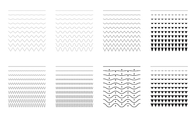 Wektor zbiór różnych cienkich linii, szerokich i wąskich linii falistych duży zestaw falistych krzywych i zig