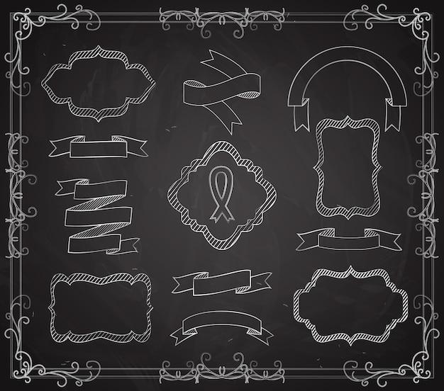 Wektor zbiory banerów stylu tablica, wstążki i ramki