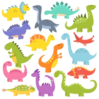 Wektor zbiory cute kreskówek dinozaurów