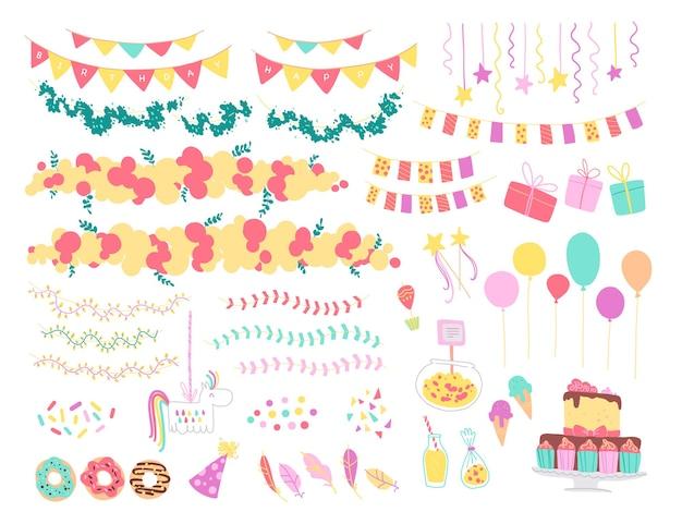 Wektor zbiory płaskich elementów wystroju na przyjęcie urodzinowe dla dzieci - balony, girlandy, pudełko na prezenty, cukierki, pinata, ciasto bd itp. płaskie ręcznie rysowane stylu. dobry na karty, wzory, tagi, banery itp.