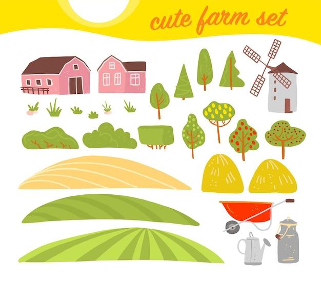 Wektor zbiory przytulnych elementów gospodarstwa: dom, ogród, drzewa, pole, stóg siana, wiatrak na białym tle. płaskie ręcznie rysowane stylu. dobre dla etykiety, alfabetu, ilustracji książki, banerów, logo