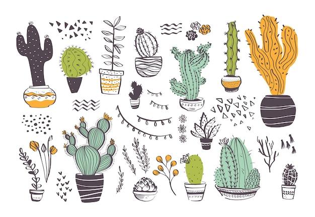 Wektor zbiory ręcznie rysowane różne kształty kaktusów i elementy abstrakcyjne doodle na białym tle. modny styl szkicu. idealny na wzór, dekor, kartkę, opakowanie, baner, reklamę, druk.